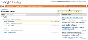 Google Analytics Oberfläche - Profil-/Domain-Auswahl